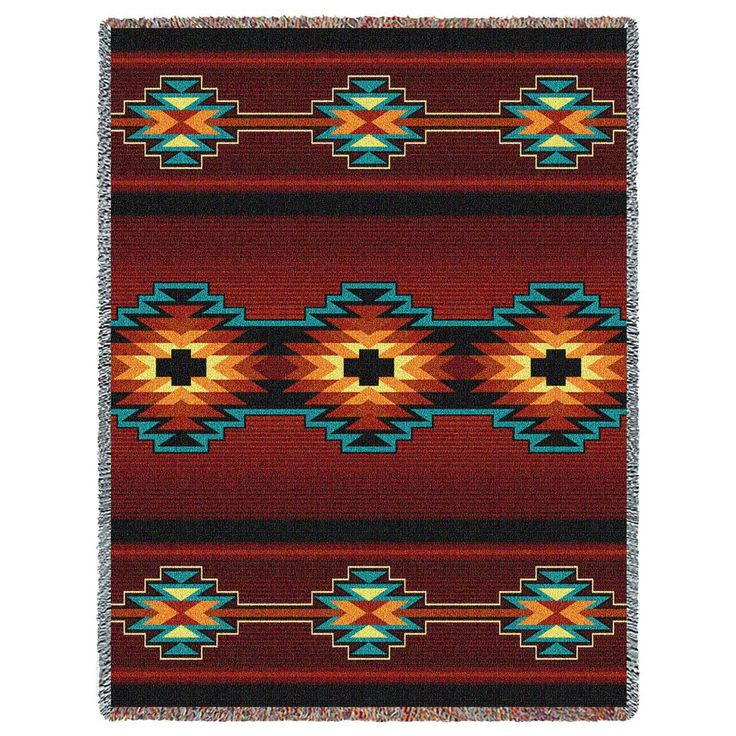 Southwest Geometric Deep Red Southwestern Tapestry Throw - With Love Home Decor