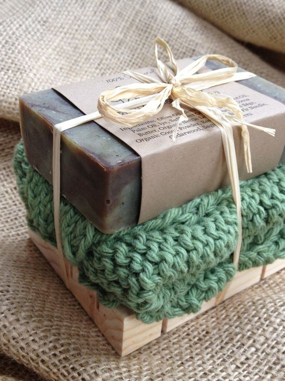 Soap Gift Set - Woodland Sage Soap, Handknit cotton washcloth, all natural soap, holiday gift, teacher gift, stocking stuffer