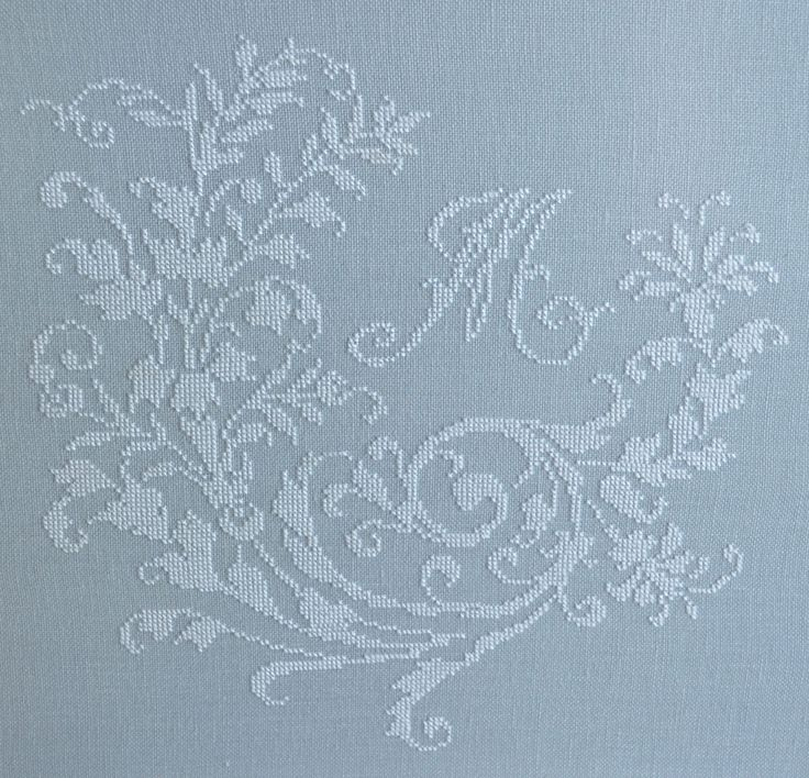 French cross-stitched monogram ~ white silk on French blue linen ~ shabby chic cross-stitch