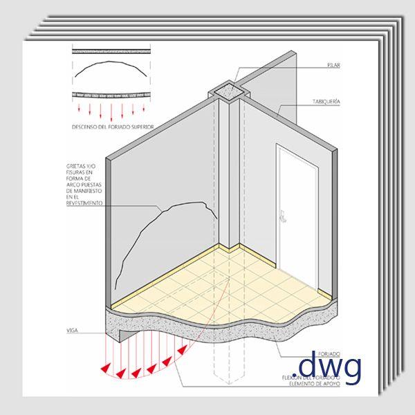 Pack de detalles constructivos en .dwg y .pdf: Reparación de grietas y lesiones en tabiquerías interiores.