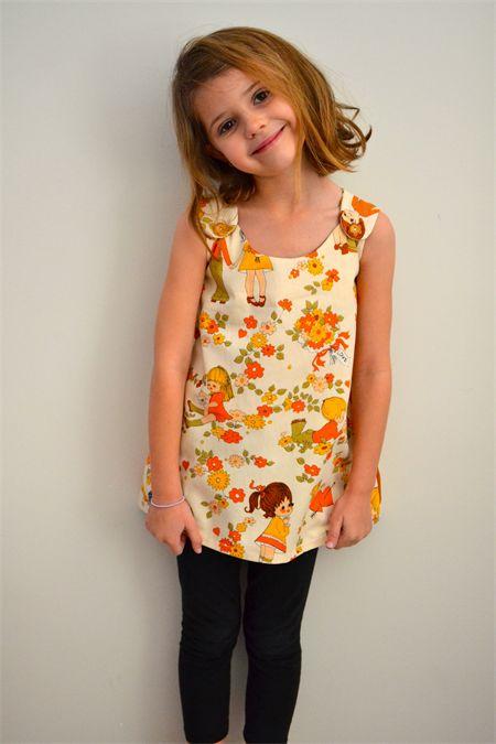 GIRLS SHIFT DRESS VINTAGE FABRIC CREAM FLORAL AND CUTE CHILDREN SIZE 3 www.madeit.com.au/ErinWalsh Erin Walsh Designs