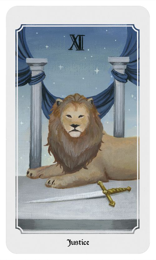 Justice: Justice, legal matters, fairness, balance, decision making, cause and effect. From the Anima Mundi tarot deck.