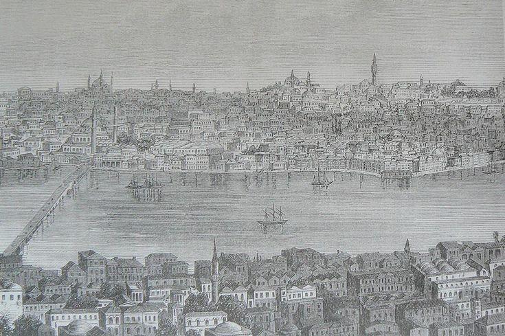 HALİÇ ALBÜMÜ: #GalataKulesi'nden İstanbul ve Haliç manzarası (Anonim gravür, 1882) #İstanbul #Haliç #Galata #Eminönü