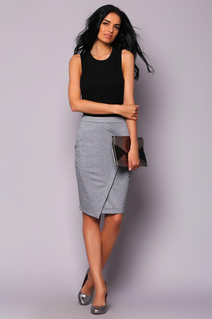 Серая юбка с фигурным запахом Jhiva (1) ТРИКОТАЖ