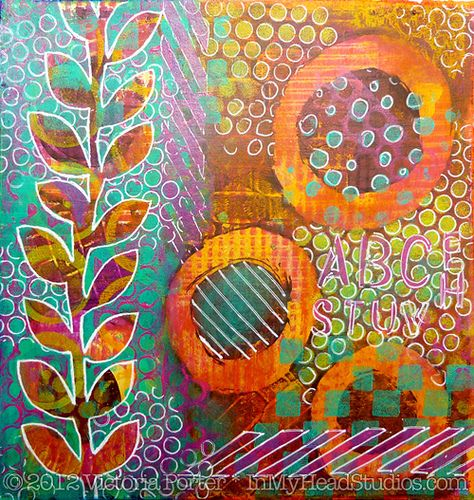 """Summer Evening"" Gelli Monoprint | by Vickie @ In My Head Studios"