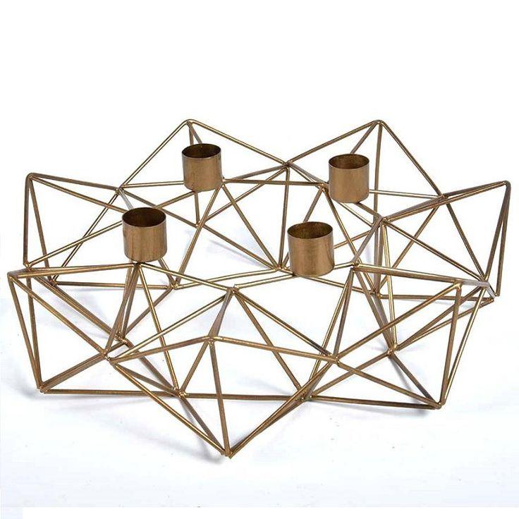 Metalowy świecznik Gold Line w geometrycznym kształcie - NieMaJakwDomu