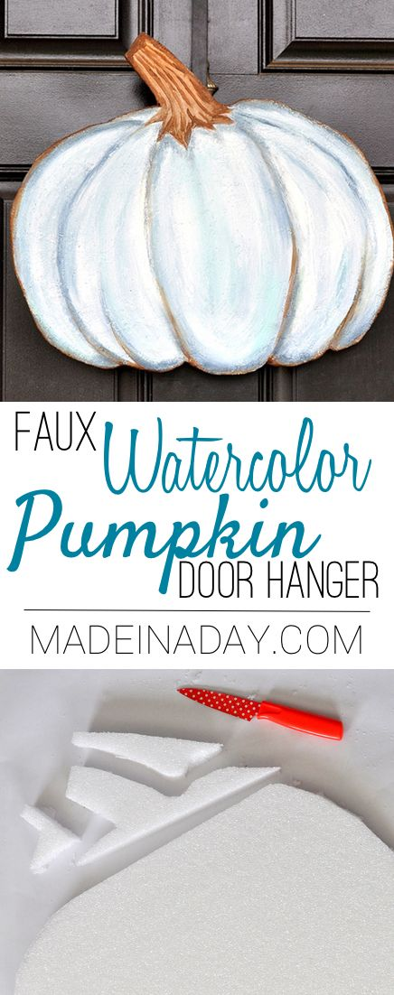 Blue Faux Watercolor Pumpkin Door Hanger,Make this super fun trendy door hanger from foam and watered down acrylic paint. Painted pumpkin via @madeinaday