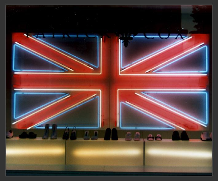 British Union Jack Neon Sign as seen at Patrick Cox window display sloane street London at the end of the 1990's.