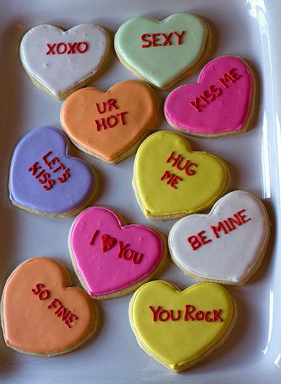 Edible conversation heart cookies - Brown Eyed Baker