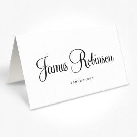 Black and White modern script wedding Placecards, professionally printed Peach Perfect Australia