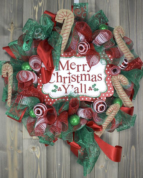 XL Christmas Wreath Deco Mesh Wreath Christmas Front Door