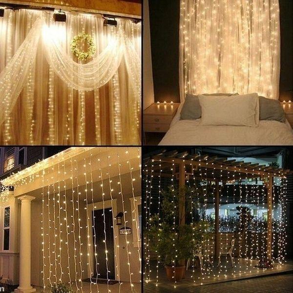 300 LED Fairy String Curtain Window Lights Twinkle Christmas Party Wedding Decor