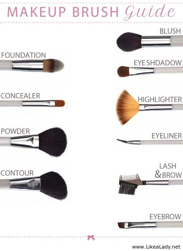 Makeup brush guide (the highlighter/fan brush also works great for contouring with bronzer)