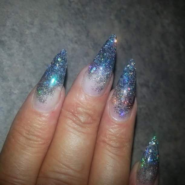 Acrylic nails with Stilleto style, Young nails clear acrylic, Sheba nails Roller Boogie
