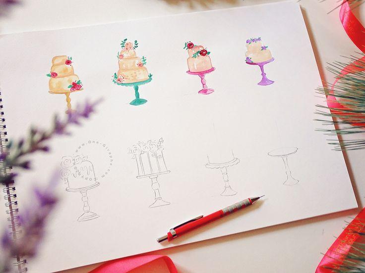 Watercolor cakes - work in progress #watercolor #cakes #bakery #onegiraphe #logo #design #logodesign #branding #brand #logodesigner