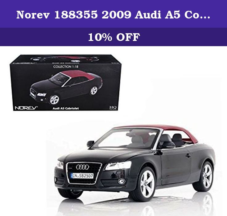 Norev 188355 2009 Audi A5 Convertible Brilliant Black 1/18 Diecast Model Car. Brand new 1:18 scale diecast car model of 2009 Audi A5 Convertible Brilliant Black die cast car model by Norev.Brand new box.Rubber tires.Has steerable wheels.Made of diecast metal.Has opening hood, doors and trunk.Detailed interior, exterior, engine compartment.Dimensions approximately L-10.5, W-4.5, H-3.5 inches.