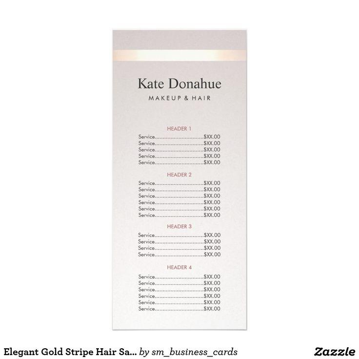 Elegant Gold Stripe Hair Salon Price List Menu Rack Card Template                                                                                                                                                     More