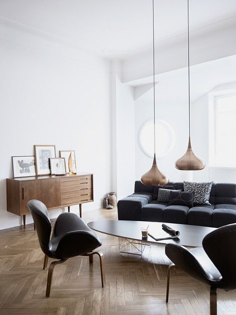 low hanging lamps in living room, interesting