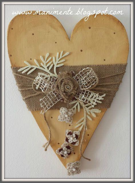 Creare con le mani e con la mente: Cuore in legno iuta, feltro e perle.