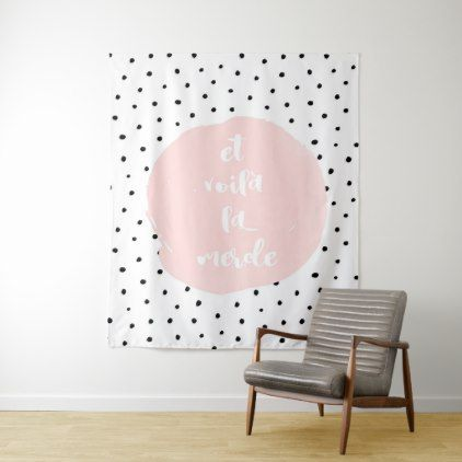 Et Voila la merde Typography Polka Dot Dots Dance Tapestry - trendy gifts cool gift ideas customize