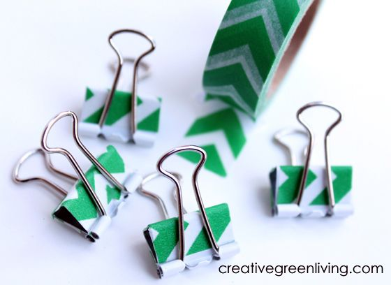 Make washi tape covered binder clips - lots more washi pics in this post.