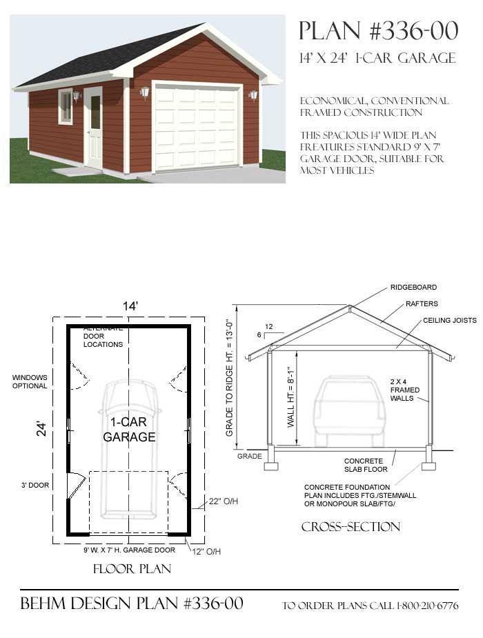 Awesome Basic Garage Plans 6 1 Car Garage Plan With One Story 336 – Basic Garage Plans