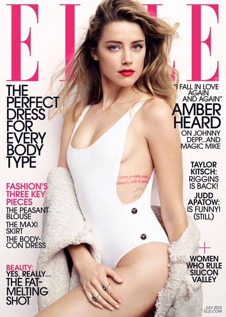 Amber Heard wears a swimsuit for ELLE July 2015 cover Photoshoot
