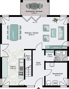 STREIF Haus FRANKFURT -  Küche separat, Speisekammer fehlt und Trennwand mit beidseitigen Kamin zwischen ess und wohnbereich