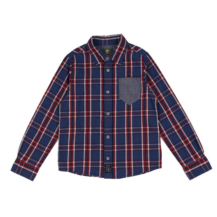 Boys Red and Blue Check Shirt with Blue Pocket. Now available at www.chocolateclothing.co.uk