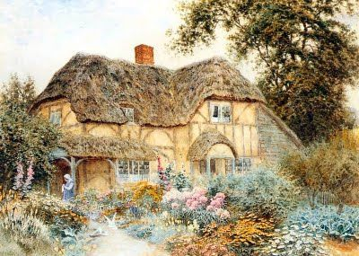 Watercolor by arthur claude strachan born in scotland for Watercolor cottages