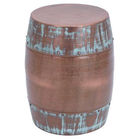 Distressed stool in copper with a weathered blue border and rivet detail.  Product: StoolConstruction Material: ...