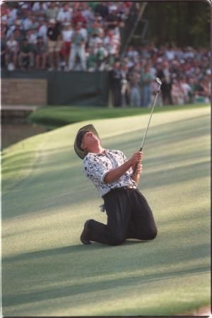 1996: Greg Norman found the water at 12 and 16 and blew a six-shot lead in the final round. Nick Faldo won the green jacket. - More photos and history at http://www.Augusta.com