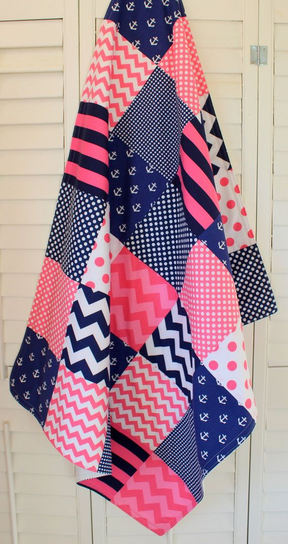 Baby Girl Blanket, Fleece Blanket, Crib Blanket, Nautical Nursery Decor, Baby Shower Gift, Pink and Navy Blue Chevron, Dots and Anchors on Etsy, $58.50
