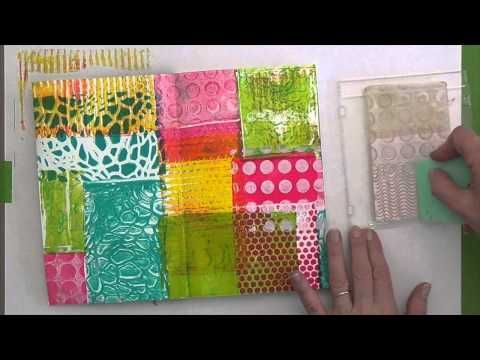Stamping with Gelli™ - YouTube - using a small gelatin plate mounted on an acrylic base as a stamp and mono plate