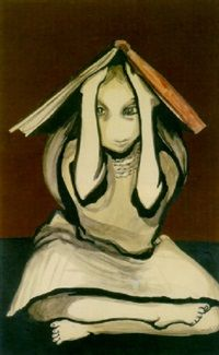 Little girl with book on head by Joy Hester