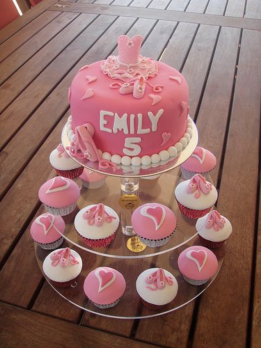 Mossy's Masterpiece - Emily's ballet/Ballerina cake & cupcakes by Mossy's Masterpiece cake/cupcake designs, via Flickr