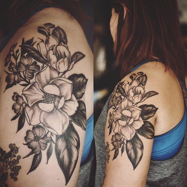 magnolia foot tattoo - photo #27