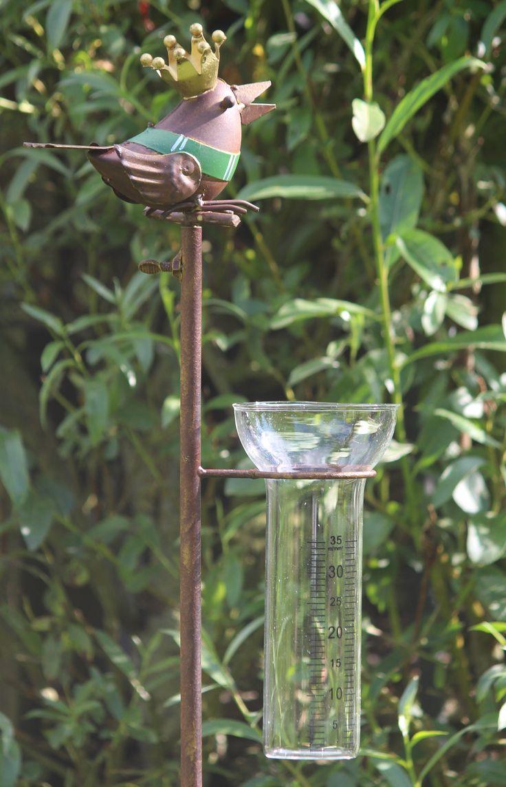 RM170 regenmeter vogel met gouden kroon, verkrijgbaar bij www.robanjer.nl