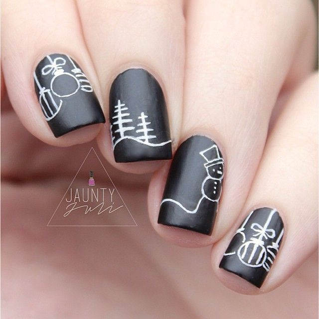 Chalkboard snowmen! white on black. matte black nails. Cute pine trees. Ornaments. Great Concept!