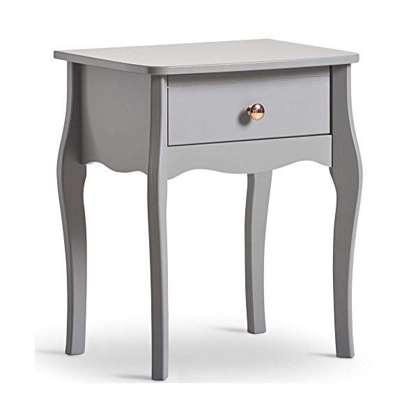 Beautify Grey 1 Drawer Bedside Table Vintage Style With Rose Gold Handles 1 Drawer Bedroom Storage Vintage Bedside Table Furniture Design Modern Furniture