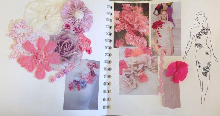 Leanne Fletcher: flowers, stitch, fibers, pattern, markings, texture, thread, manipulation, fashion. ALevel textiles