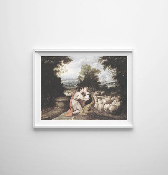 LONG WEEKEND SALE - 15% off whole shop! Enter ILOVEAGOODSALE at checkout. Happy Shopping!  This spanish painting was originally painted in the 17th century and illustrates the first meeting of Jacob and Rachel at the well where their flock were gathered. In exchange for 7 years of work for Rachels father, he gave Jacob permission to marry his daughter. A beautiful and victorious story, this painting is definitely a statement on any wall! This photograph will be professionally printed onto…