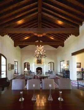 Great Room of Mission Revival house in San Miguel de Allende with beamed ceilings. #agavesanmiguel #sanmiguelrealestate