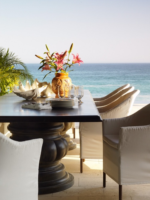 Beach House outdoor living on the patio with an amazing view of the ocean....Simplicity ~ by the sea