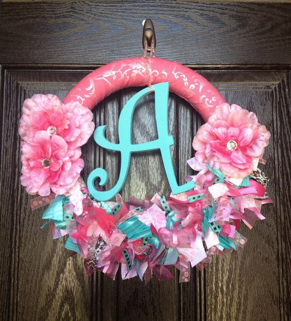 Pink and Aqua Baby Girl Hospital Door Wreath by TopHatsAndTuTus, $60.00