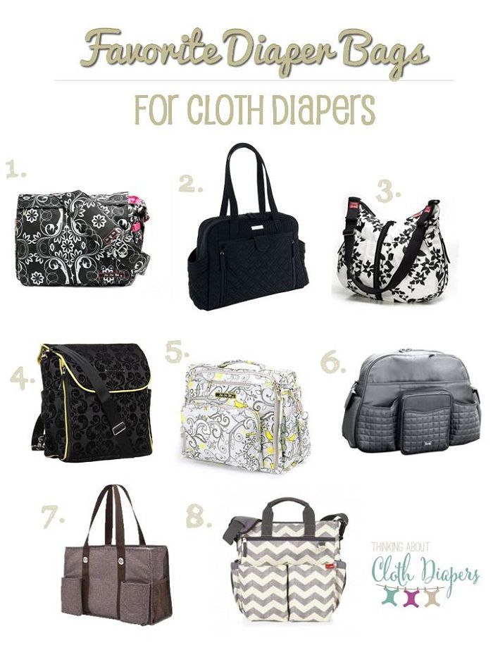 """Here's a list of 8 cloth diaper friendly designer diaper bags!  It's amazing how much """"stuff"""" moms need in their diaper bags when they travel with a baby!"""