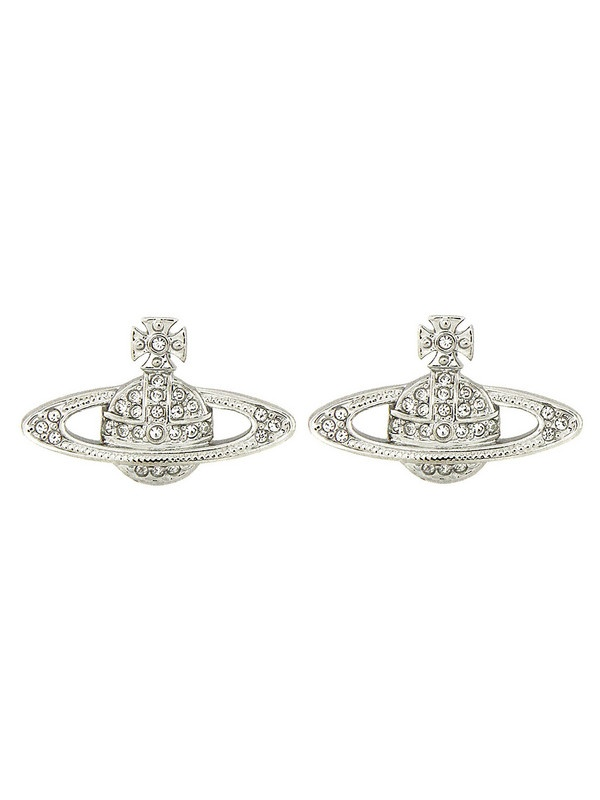 Vivienne Westwood - Jewellery Rhodium Mini Bas Relief Earrings at Coggles