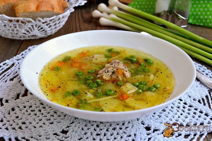 Куриный суп со свежими овощами, вермишелью и зеленым горошком фото рецепт приготовления