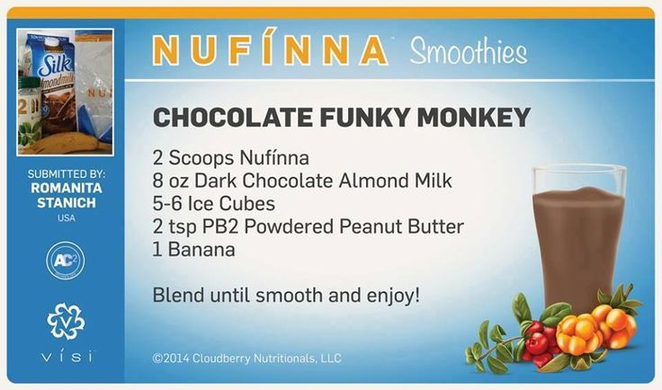 Chocolate Funky Monkey - For a sweet tooth or dessert fix, this is an amazing smoothie WITHOUT the calories or sugar! *I also use natural PB instead of powder, too!