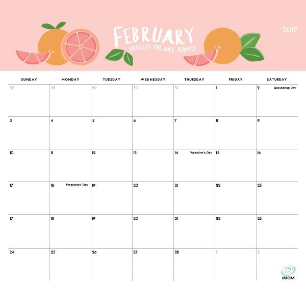February 2019 Calendar Free Food The Foodie Collection 2019 Calendar | Crafts to Try | Cute